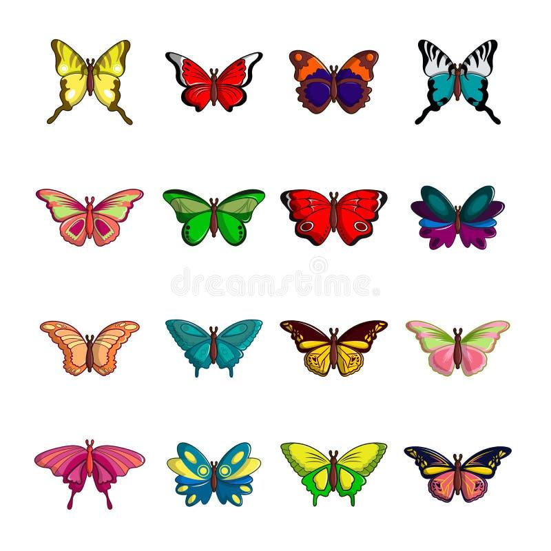 Icônes de collection de papillon réglées, style de bande dessinée illustration libre de droits
