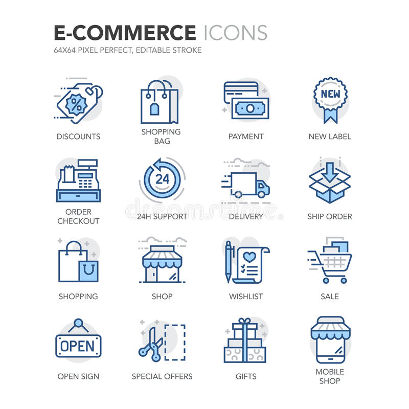 Icônes de commerce électronique de Blue Line illustration libre de droits