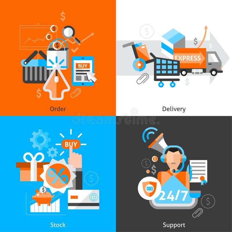 Icônes de commerce électronique réglées illustration libre de droits
