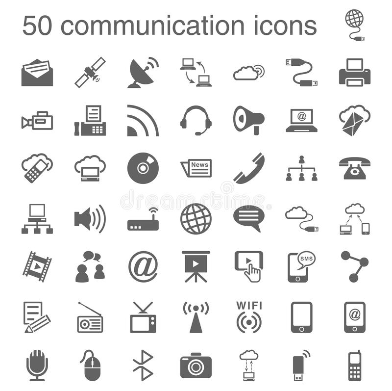 50 icônes de communication illustration stock