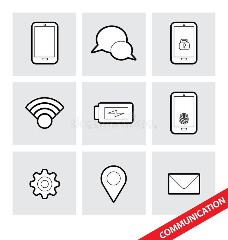 Icônes de communication de vecteur illustration de vecteur