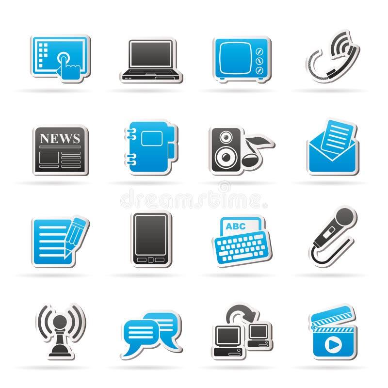 Icônes de communication et de connexion illustration stock