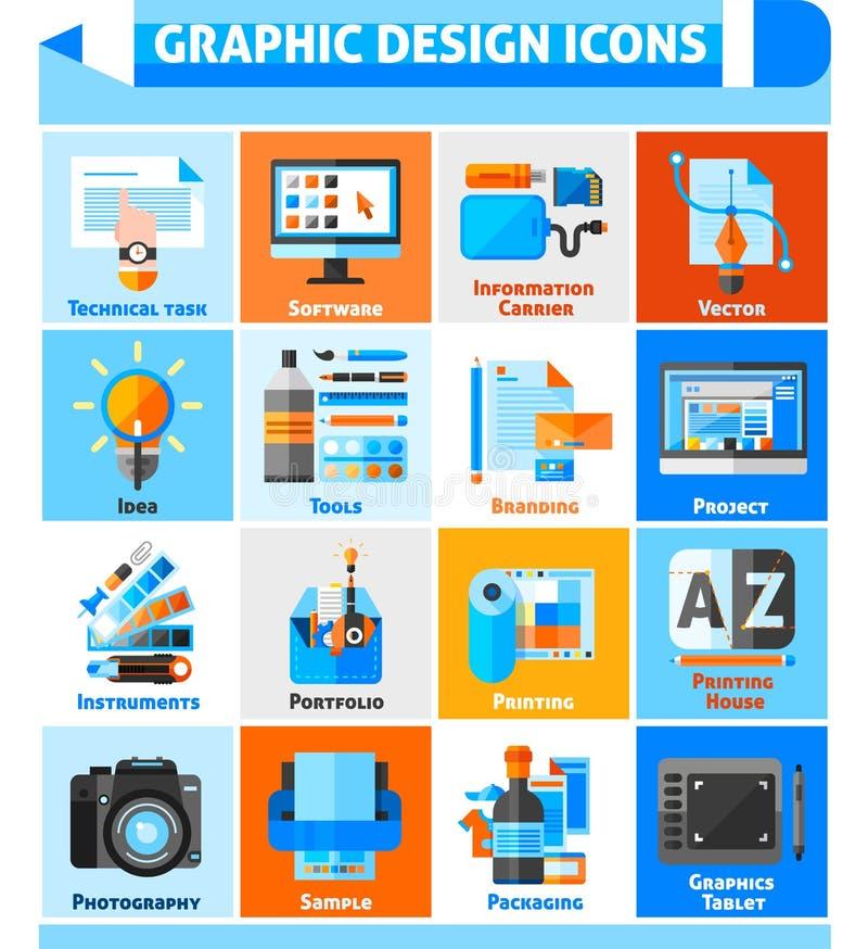 Icônes de conception graphique réglées illustration stock