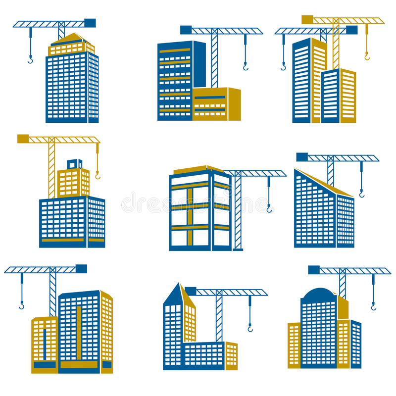 Icônes de construction de bâtiments illustration libre de droits