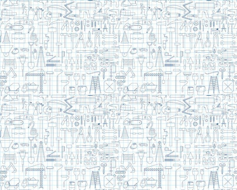 Icônes de construction - foret, perforateur et d'autres outils Ensemble de 100 objets illustration libre de droits