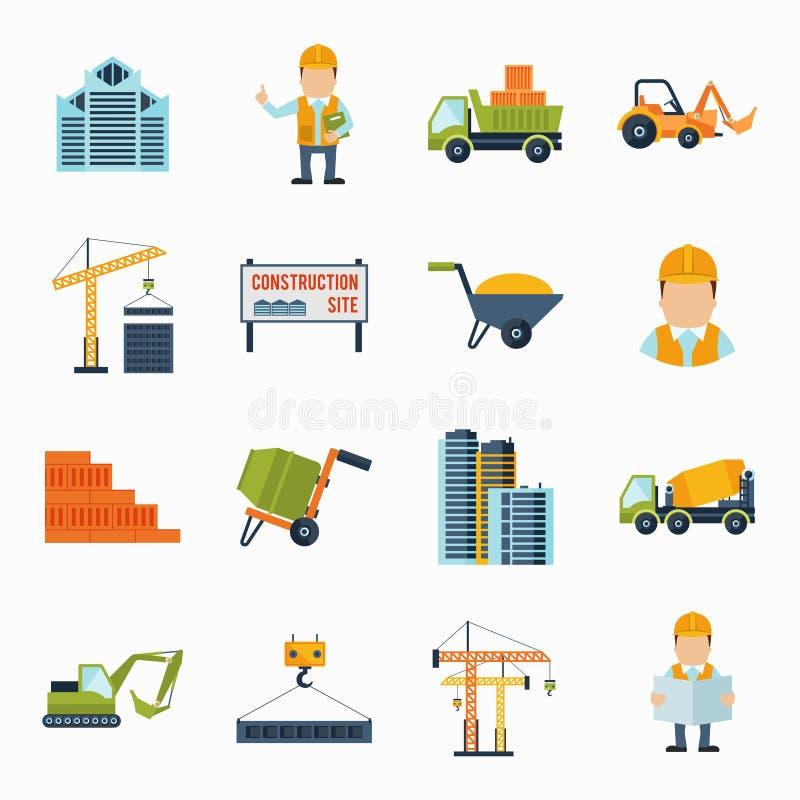 Icônes de construction plates illustration de vecteur