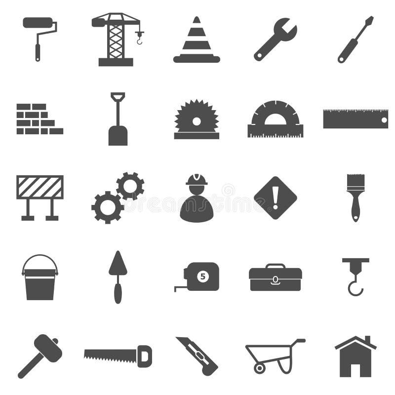 Icônes de construction sur le fond blanc illustration libre de droits