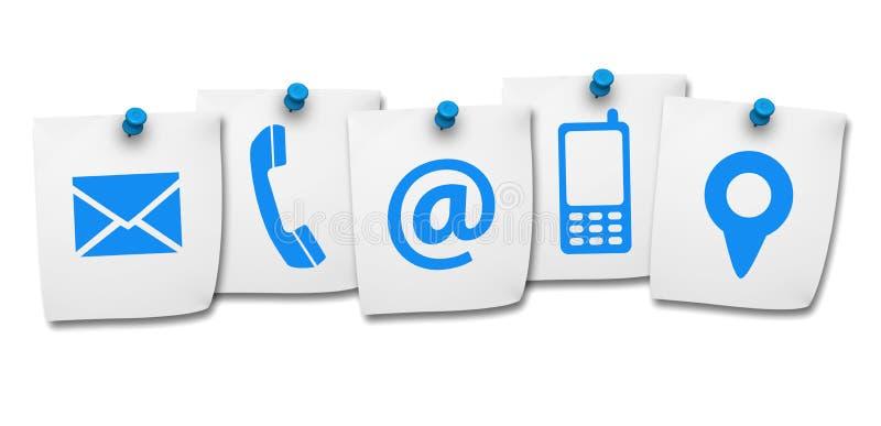 Icônes de contactez-nous de site Web sur le post-it illustration de vecteur