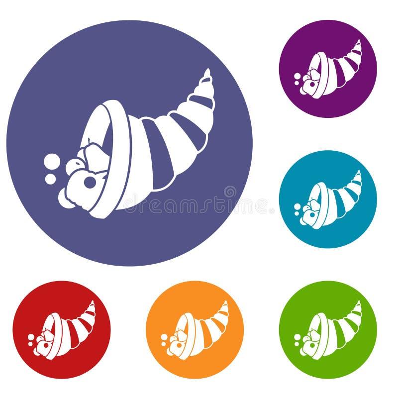 Icônes de corne d'abondance de thanksgiving réglées illustration stock