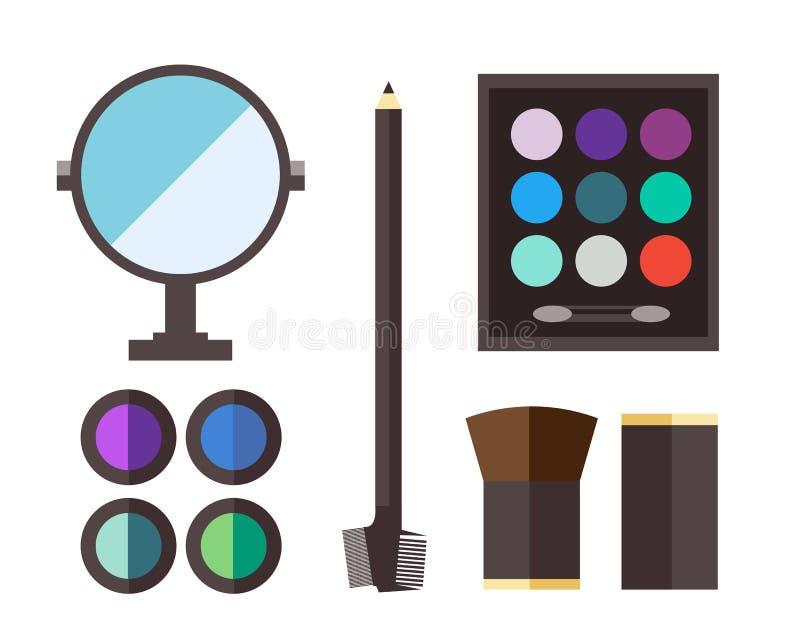 Icônes de cosmétique de beauté illustration stock