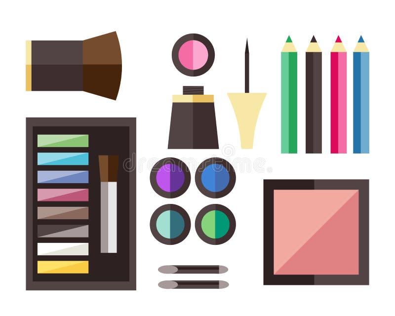 Icônes de cosmétique de beauté illustration de vecteur