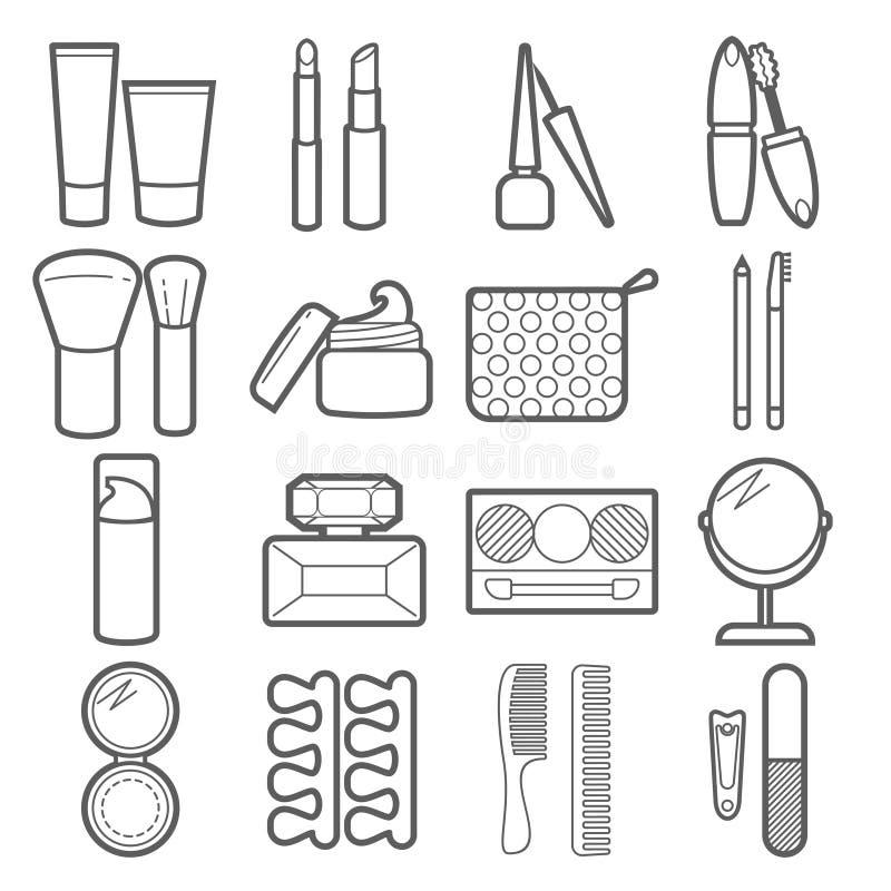 icônes de cosmétique de vecteur Signes linéaires minces de maquillage pour la manucure, pédicurie et illustration de vecteur