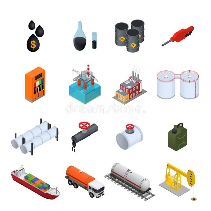 Icônes de couleur d'industrie pétrolière et de ressource énergétique réglées Vecteur illustration stock