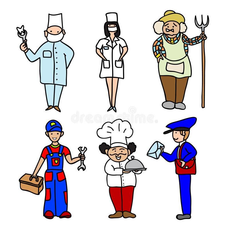 Icônes de couleur de bande dessinée de professions réglées illustration de vecteur