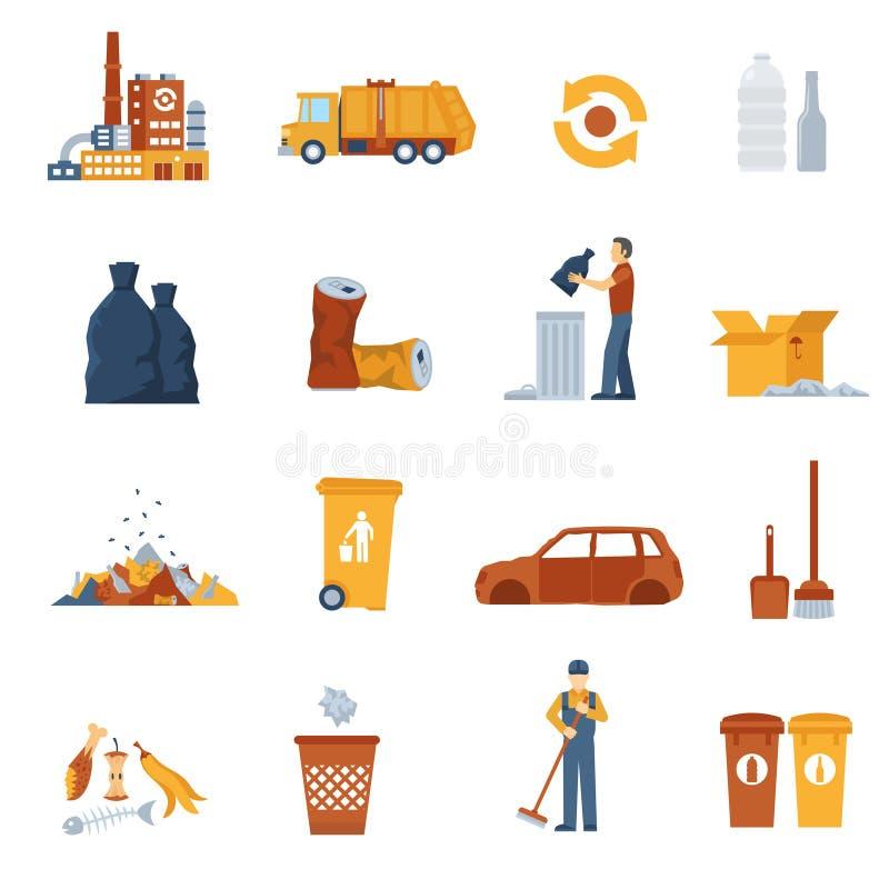 Icônes de couleur de déchets illustration de vecteur