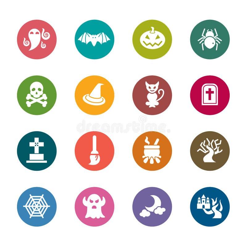 Icônes de couleur de Halloween illustration de vecteur