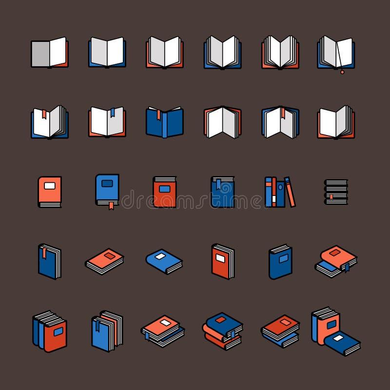 Icônes de couleur de livre illustration de vecteur
