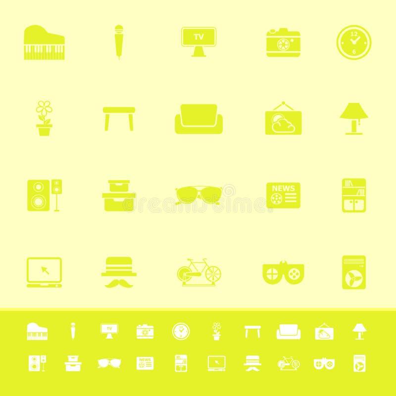 Icônes de couleur de salon sur le fond jaune illustration stock