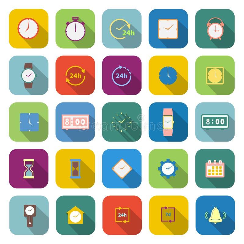 Icônes de couleur de temps avec la longue ombre illustration libre de droits