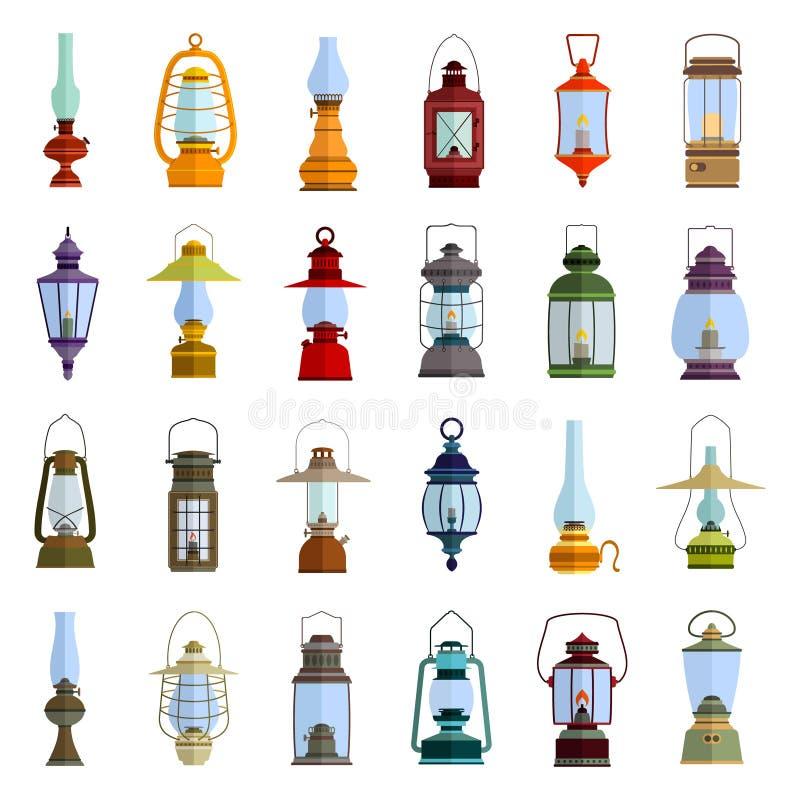Icônes de couleur réglées avec la lanterne illustration stock