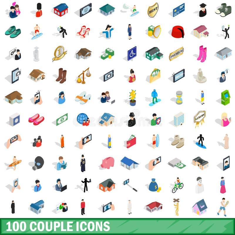100 icônes de couples réglées, style 3d isométrique illustration libre de droits
