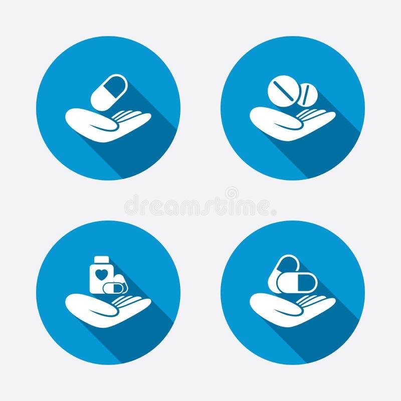 Icônes de coups de main Assurance médicale maladie médicale illustration stock