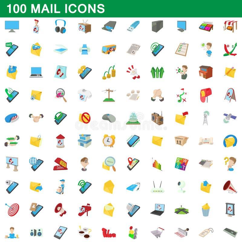 100 icônes de courrier réglées, style de bande dessinée illustration de vecteur