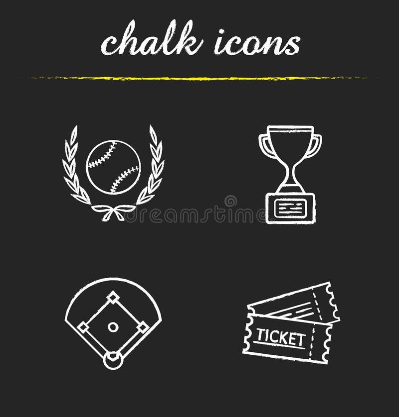 Icônes de craie de base-ball réglées illustration libre de droits