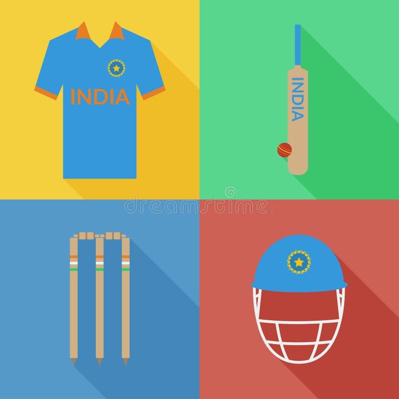 Icônes de cricket d'Inde illustration stock