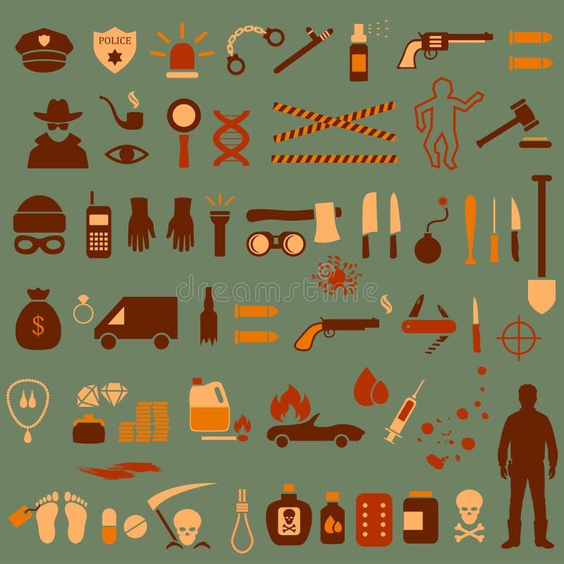 Icônes de crime, illustration de vecteur