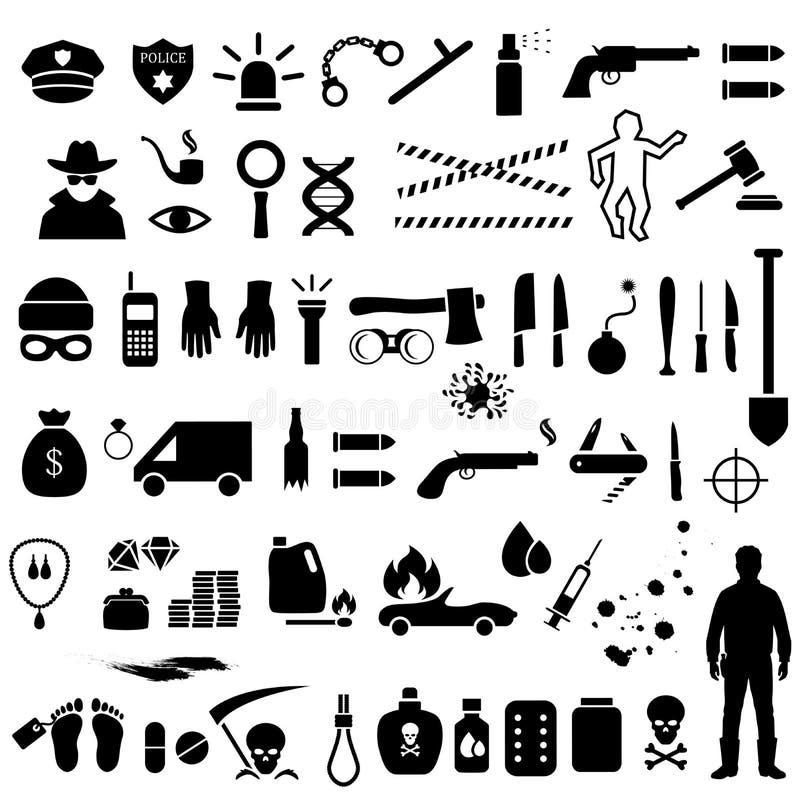Icônes de crime, illustration stock