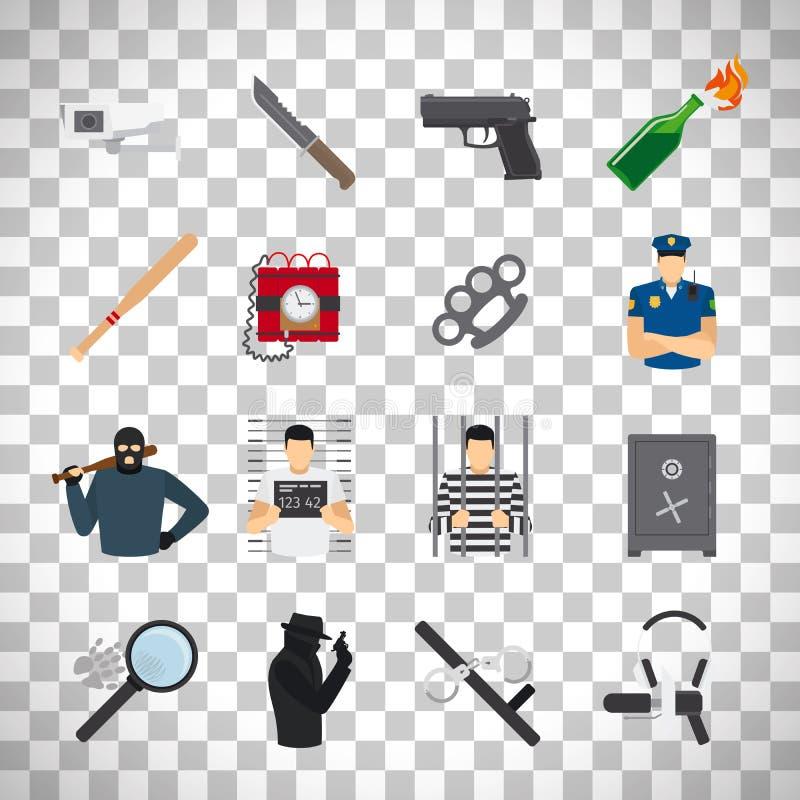 Icônes de crime réglées sur le fond transparent illustration de vecteur