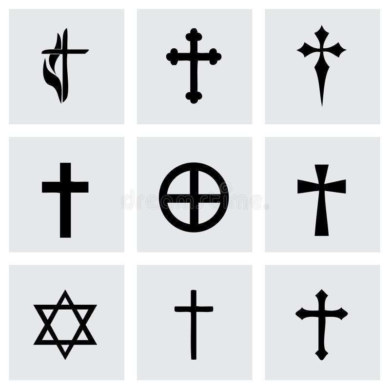 Icônes de croix de couperets de vecteur réglées illustration stock
