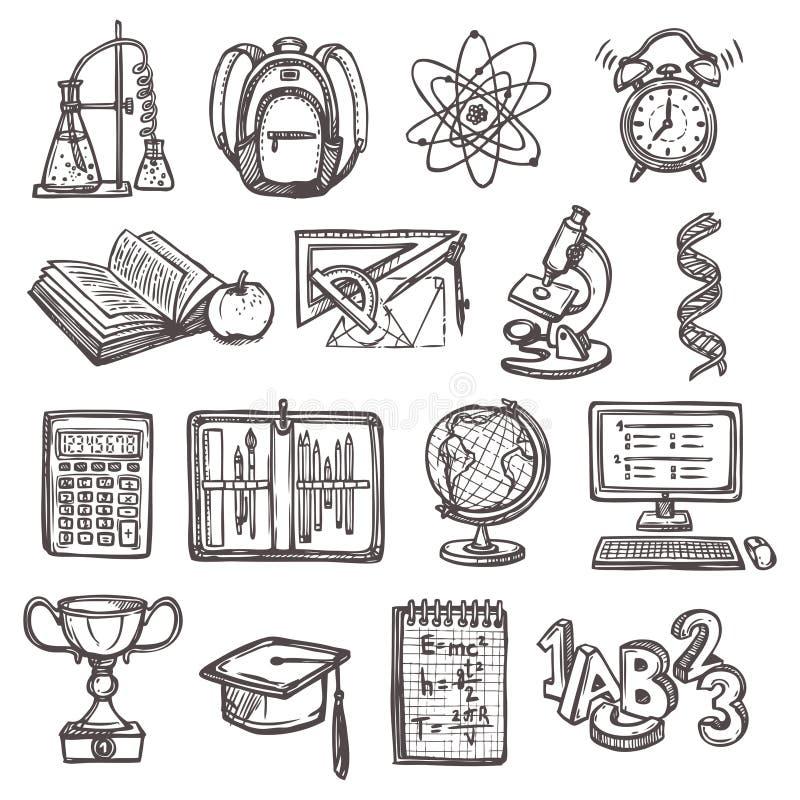 Icônes de croquis d'éducation d'école illustration de vecteur