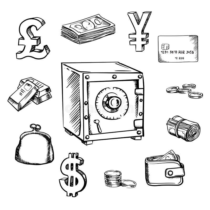 Icônes de croquis d'argent, de devise et de finances illustration stock