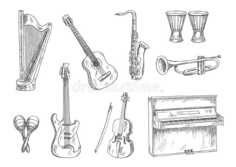 Icônes de croquis d'instruments de musique pour la conception d'art illustration de vecteur