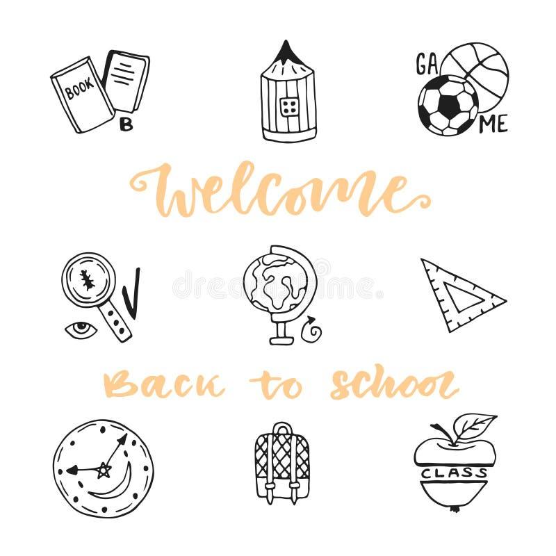 Icônes de croquis de griffonnage d'éducation d'école réglées Collection tirée par la main d'icône de vecteur Bienvenue de nouveau illustration de vecteur