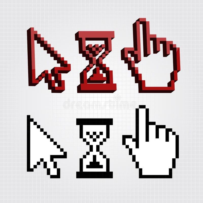 Icônes de curseurs du pixel 3d illustration de vecteur