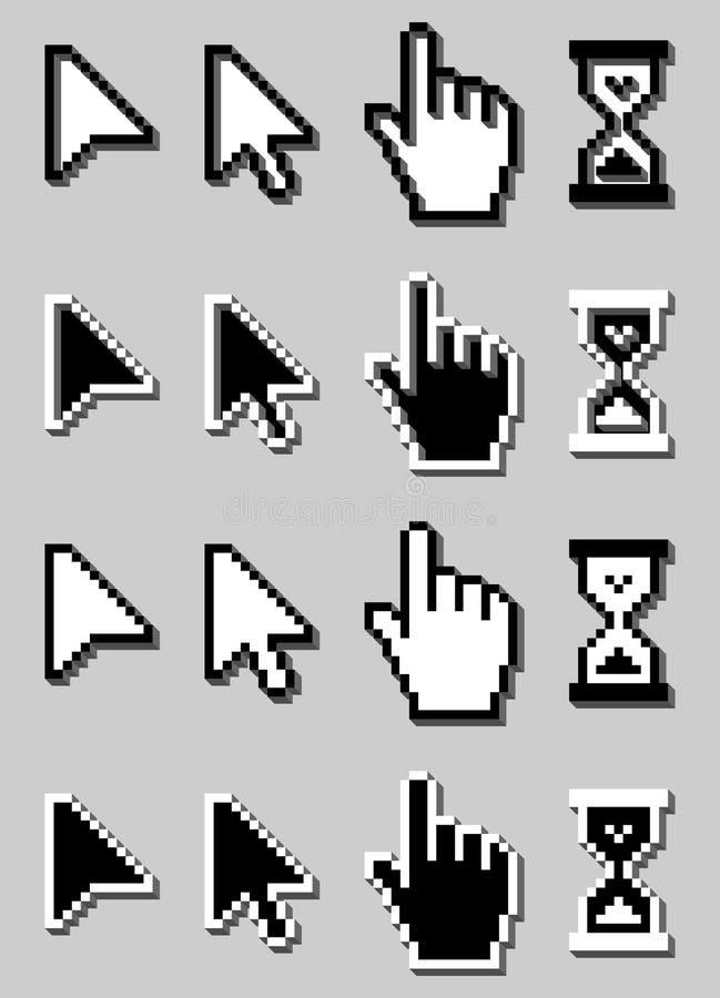 icônes de curseurs du pixel 3D réglées, main de souris, flèche, sablier. illustration de vecteur