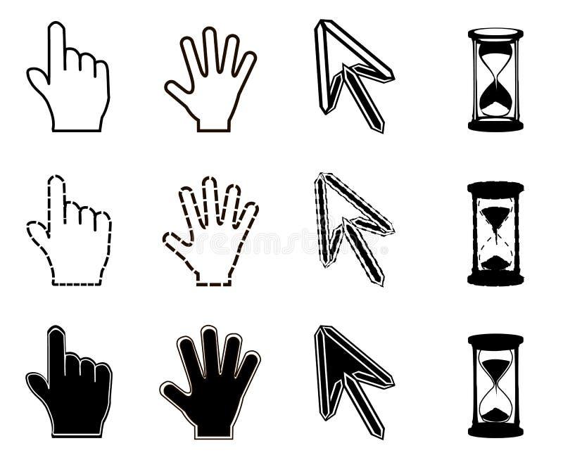 Icônes de curseurs : sablier de flèche de main de souris illustration stock