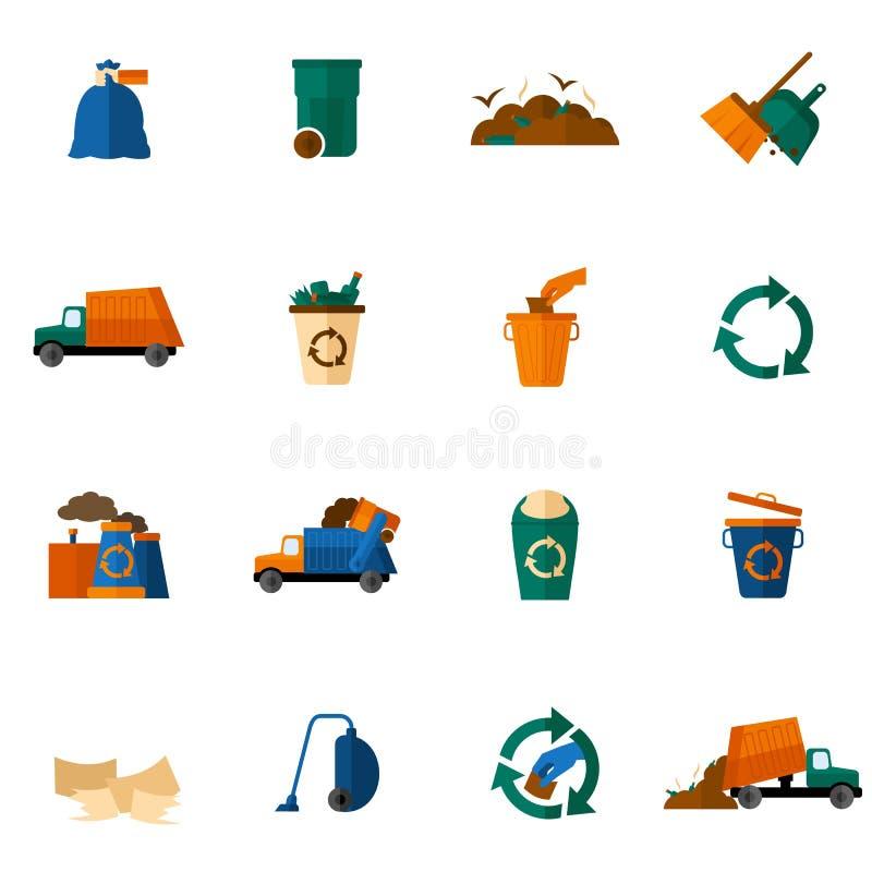 Icônes de déchets plates illustration de vecteur