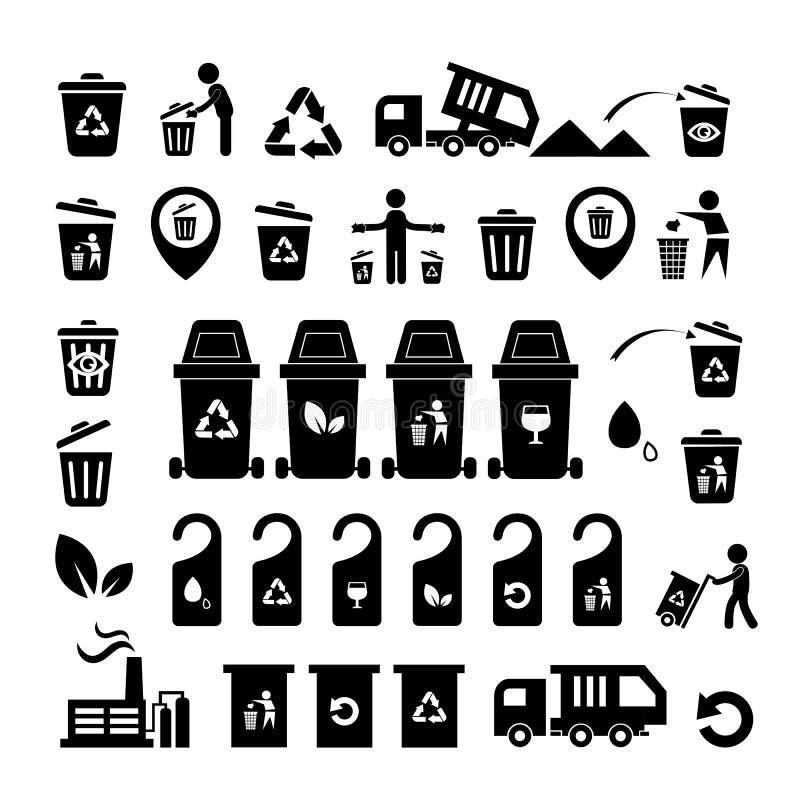 Icônes de déchets réglées illustration libre de droits