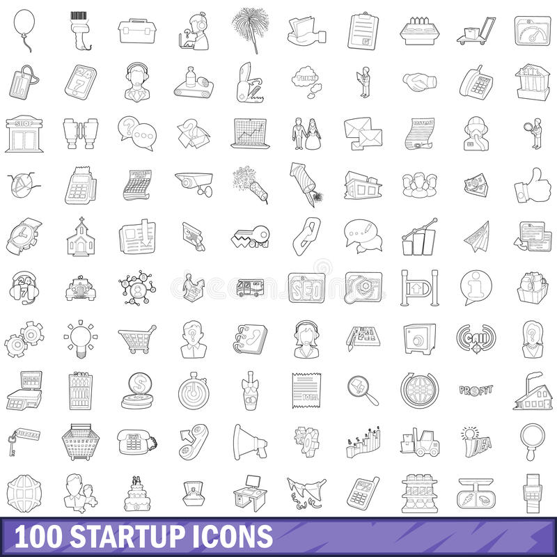 100 icônes de démarrage réglées, style d'ensemble illustration libre de droits
