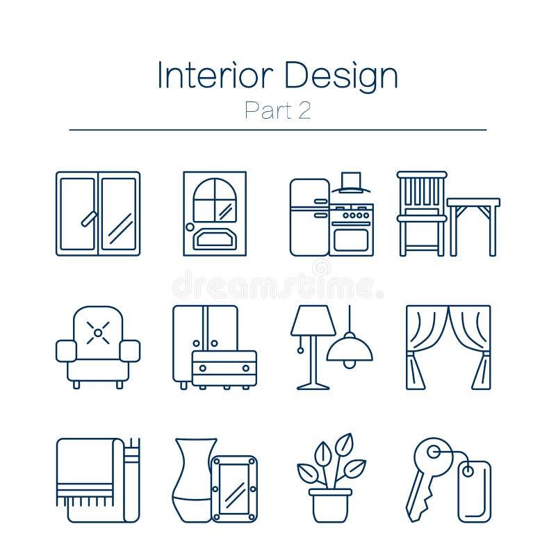 Icônes de desig d'Interor d'isolement illustration de vecteur