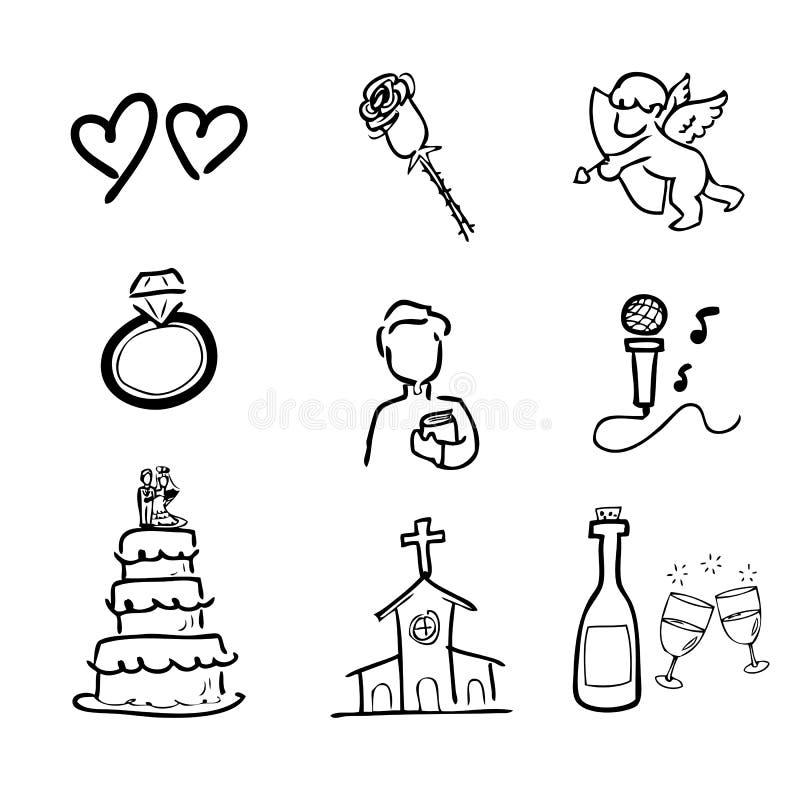 Icônes de dessin de mariage réglées illustration libre de droits