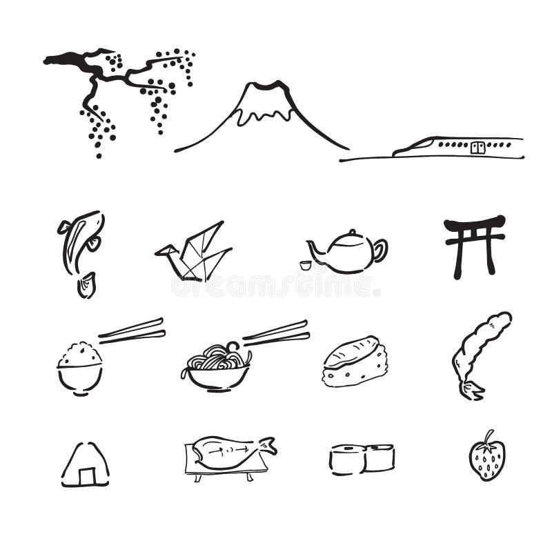 Icônes de dessin de voyage du Japon réglées illustration de vecteur