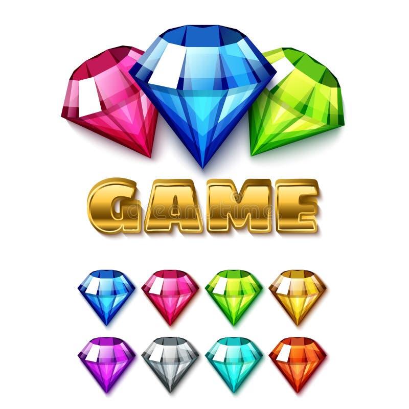 Icônes de Diamond Shaped Gem de bande dessinée réglées illustration de vecteur