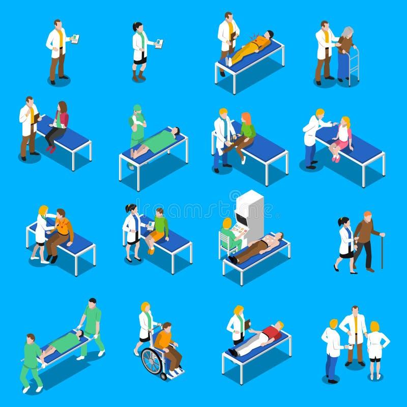 Icônes de docteur Patient Communication Isometric réglées illustration de vecteur
