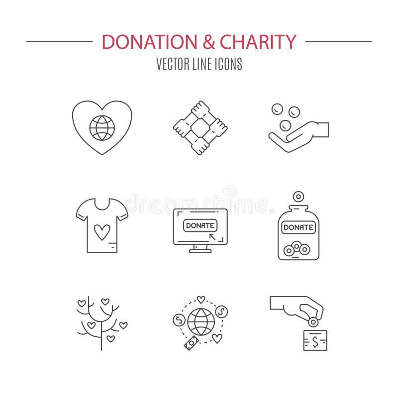 Icônes de donation illustration stock