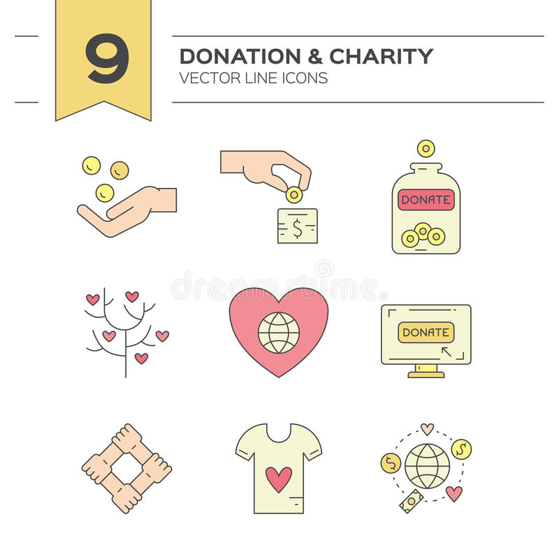 Icônes de donation illustration libre de droits